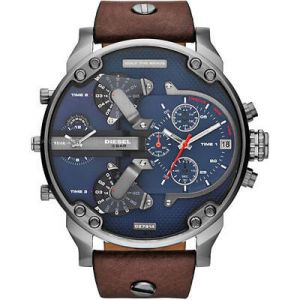 Men's Watches - Diesel Men's DZ7314 Mr Daddy 2.0 Stainless Steel Watch With Brown Leather Band