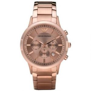 "Emporio Armani Men""s Ar2452 Rose Gold Dial Sport Chronograph Watch"