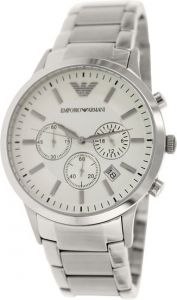 ".imported Emporio Armani Ar2458 Full Silver Chronograph Men""s Watch"