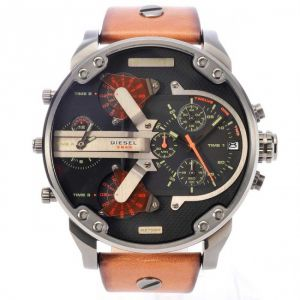 Men's Watches   Round Dial   Leather Belt   Analog - Diesel Men's DZ7332 Mr Daddy 2.0 Stainless Steel Watch With Brown Leather Band