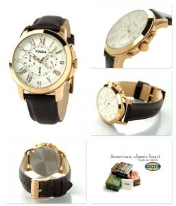 Imported Fossil Grant Chronograph Eggshell Dial Brown Leather Men