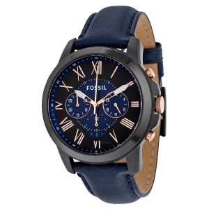Imported Fossil Original Fs5061 Mens Grant Blue Leather Watch 44mm Chonograph