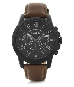 Imported Fossil Grant Chronograph Black Dial Brown Leather Men