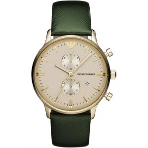 Men's Watches   Round Dial   Analog   Other - Imported Emporio Armani Ar1722 Green Strap Classic Retro Mens Wrist Watch