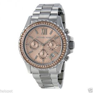 Michael Kors Mk5870 Womens Everest Chronograph Stainless Rose-tone Watch
