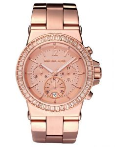Michael Kors Mk5586 Dylan,full Rose Gold Studded Chronograph Watch For Women(imported)