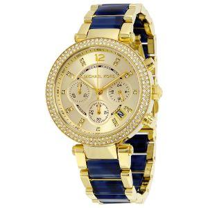 Women's Watches   Round Dial   Metal Belt   Analog - Michael Kors Women's MK6238Gold-Blue Chronograph watch