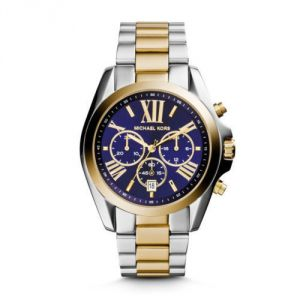 Imported Michael Kors Bradshaw Mk5976,two Tone Rare Blue Dial Chronograph Watch Unisex