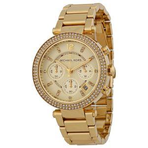 Women's Watches   Round Dial   Metal Belt   Analog - Michael Kors Parker MK-5354, Parker Yellow Gold Chronograph Watch for Women