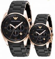 Unisex Watches - Imported Emporio Armani Couple Ar5905 Ar5906 Black Chronograph Watches