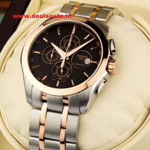 Mens' Watches   Round Dial   Metal Belt   Analog - Imported Tissot Couturier Black dial silver and rosegold chain watch for Men