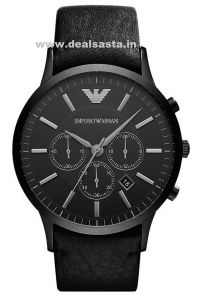 Imported Original Emporio Armani Full Black Ar2461,mens Chronograph Leather Strap Watch