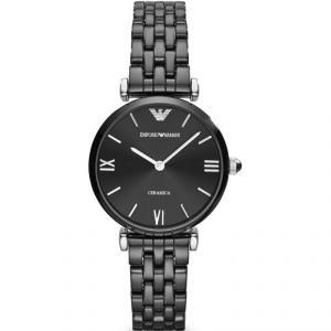 Women's Watches   Round Dial   Metal Belt   Analog - Imported Emporio Armani Ladies Black Classic Ceramic Watch (code - Ar1486)