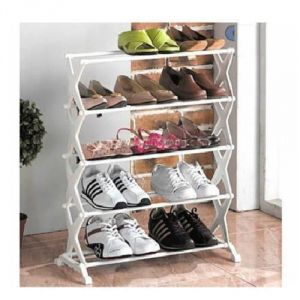 5 Layer Stainless Steel Folding Portable Shoe Rack Organizer Foot Wear