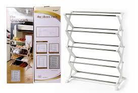 High Quality 5 Leyer Foldable Stainless Steel Shoe Rack 16 Pair