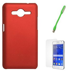 Dmg Protective Hard Back Cover Case For Samsung Galaxy Core 2 Sm-g355h (red) Mini USB LED Light Lamp Matte Screen