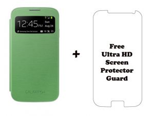 Samsung Galaxy S4 I9500 S View Flip Cover With Free HD Screen Guard (green)