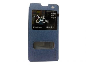 Kelpuj Artificial Leather Blue Flip Cover For Micromax Yu Yuphoria - Kel-as29606805