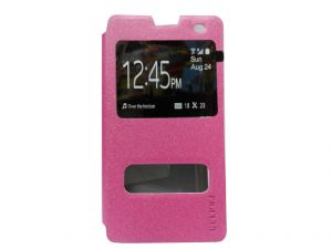 Kelpuj Artificial Leather Pink Flip Cover For Micromax Yu Yuphoria - Kel-as29606807