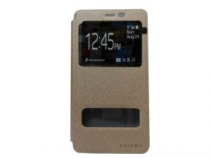 Kelpuj Artificial Leather Gold Flip Cover Flip Cover For Samsung Galaxy On5 - Kekel-as29606824