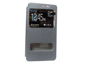 Kelpuj Artificial Leather Silver Flip Cover Flip Cover For Samsung Galaxy On5 - Kekel-as29606825