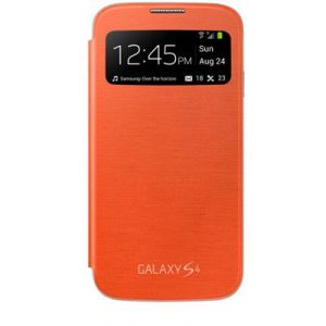 Samsung Galaxy S4 I9500 S View Caller ID Flip Cover Book Case (orange)