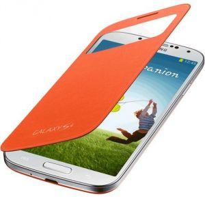 Samsung Galaxy S4 I9500 Sview Caller ID Flip Cover Book Case(orange)