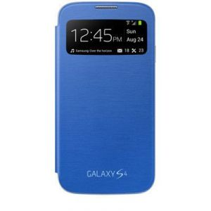 Samsung Galaxy S4 I9500 S View Flip Cover With Free HD Screen Guard (blue)