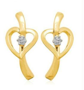 0.10 Cts Certified Heart Shape Diamond Earrings