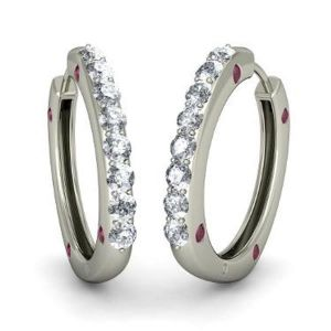 Sheetal Diamonds 0.50TCW Real Round Diamond Hoop Earring In White Gold E0082-18k