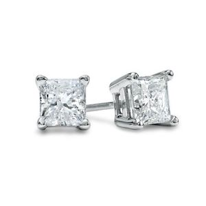 Sheetal Diamonds 0.30tcw Real Princess Cut Diamond Beautiful Stud Earring E0105-18k