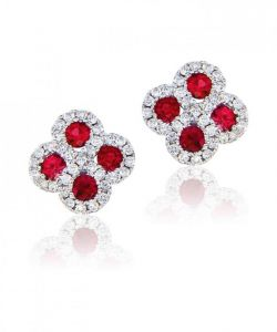 Sheetal Diamonds 0.38tcw Exclusive Real Round Shape Diamond With Rubby Floral Earring E0190-10k