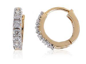 Diamond Earrings - Sheetal Diamonds 0.25TCW Real Natural Round Cut Diamond Designer Hoop Earring E0210-10K