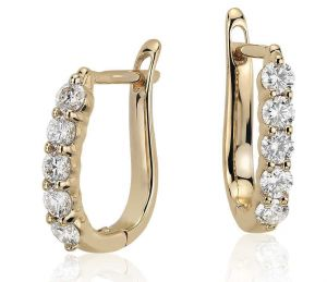 Sheetal Diamonds 0.20tcw Natural Round Diamond Certified Wedding Hoop Bali Earring 10k Yellow Golg