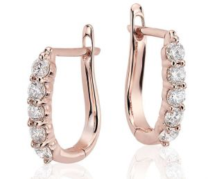 Sheetal Diamond 0.20tcw Beautiful Looking Party Wear Hoop Earring 10k Rose Gold