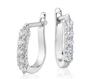 Sheetal Diamonds 0.20tcw Real Round Shape Diamond Party Wear Hoop Earring E0226w-18k