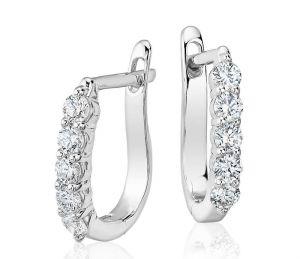 Sheetal Diamonds 0.20TCW Real Round Shape Diamond Party Wear Hoop Earring E0226W-18K