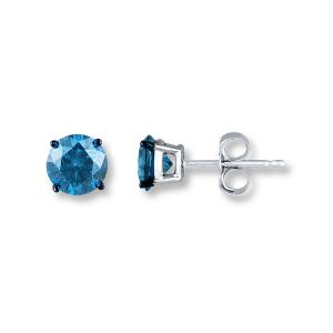 Sheetal Diamond 1.00tcw Real Round Solitaire Blue Diamond Certified Earring 18k White Gold