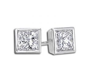 Sheetal Diamonds 0.30tcw Awesome Real Princess Diamond Stud Earring E0262-18k
