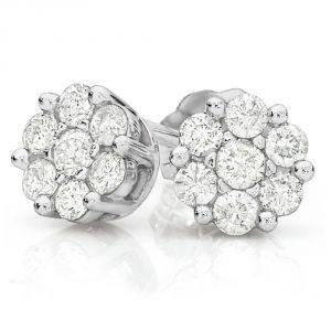 Sheetal Diamonds 0.70TCW Real Round Cut Diamond Cluster Earring E0272-14k