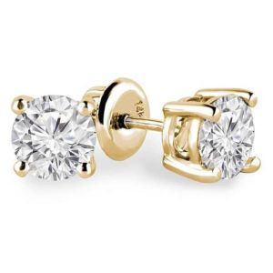 Sheetal Diamonds 1.00tcw Real Round Solitaire Stud Certified Earring 14k Yellow Gold Best Gift
