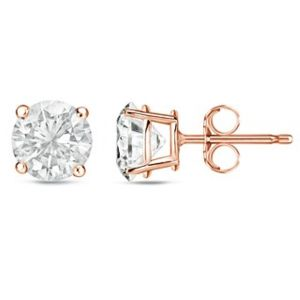 Sheetal Diamonds 14k Rose Gold 0.50tcw Real Round Diamond Certified Party Wear Stud Earring