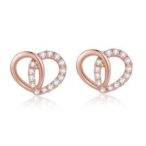 Sheetal Diamonds 0.30tcw Real Round Diamond Party Wear Heart Shape Certifed Earring 14k Rose Gold E0300