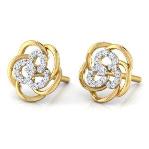 Gold Jewellery - Sheetal Diamonds 0.80TCW Real Round Diamond Screw Back Earring E0309-18K