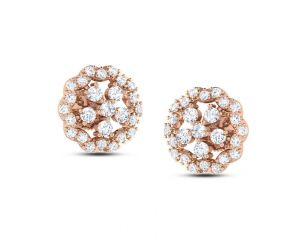 1.00tcw Real Round Diamond 14k Rose Gold Nakshatra Earring At Best Price
