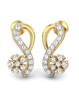 Sheetal Diamonds 0.70TCW Real Round Diamond Stud Earring For Woman E0343-18K