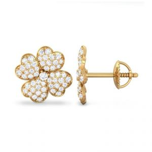 Sheetal Diamonds 1.00TCW Real Round Diamond Floral Shape Stud Earring E0360-10K