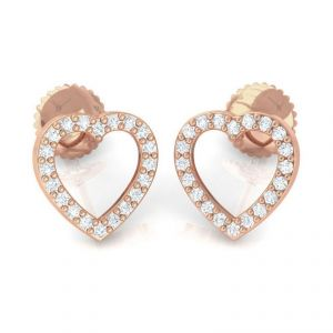 Sheetal Diamonds Real Round Diamond Herat Shape Earring In 14k Rose Gold E0361
