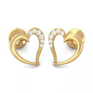 0.10ct Real Round Diamond Heart Shape Earring In 14k Yellow Gold For Valentine Gift
