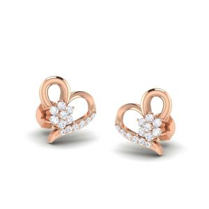 Sheetal Diamonds 0.50tcw Brilliant Real Round Diamond Heart Shape Stud Earring E0371-18k